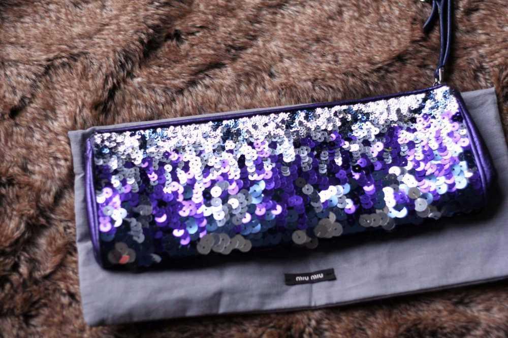 Authentic MIU MIU WRIST BAG in purple SEQUINS Metallic Leather Wristlet CLUTCH-party bag in london