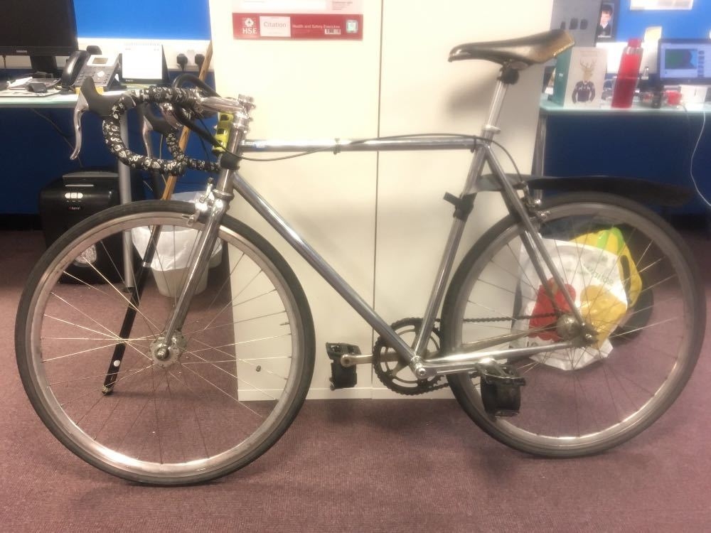 """Chrome Brick Lane Bicycle, single speed, size 59 frame so suitable for people 5 10"""" to 6 3""""+ in london"""