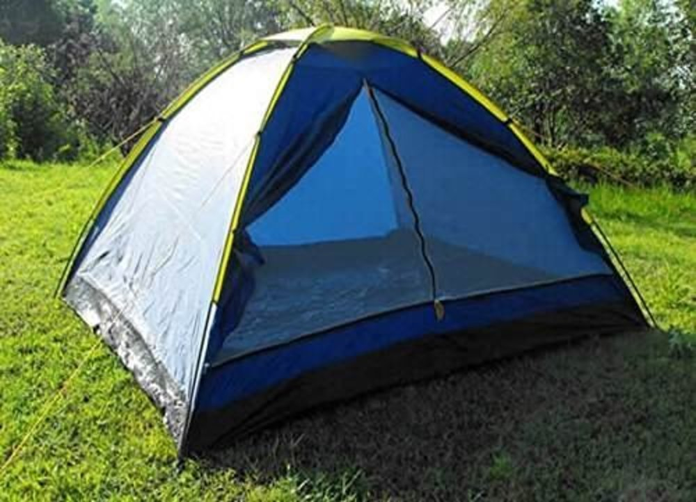 Four person camping tent (blue/yellow) in london