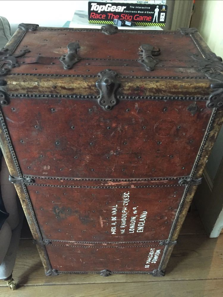Old leather trunk in london