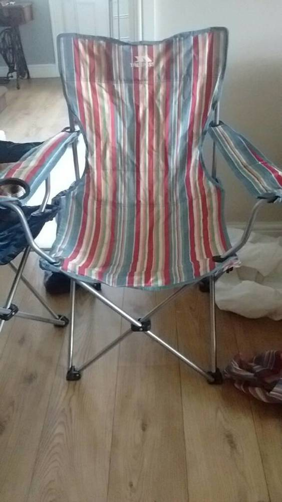 Trespass folding camp chair, striped in london